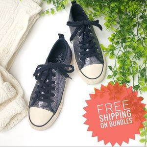 American Eagle Navy Glitter Converse Sneakers